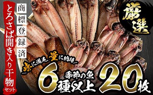 No.203 旬の厳選!干物詰合せ<計20枚>あじ、とろさば開き、鯛など6種以上の新鮮!鮮度抜群のひものをお届け!【みのだ食品】