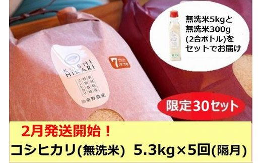 [D528] 【定期便】重ちゃんが愛情込めて作ったコシヒカリ無洗米(5.3㎏×隔月5回)