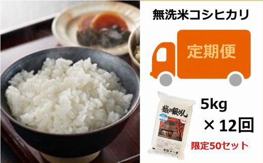 [M004]【定期便】越の銀めし 柏崎産コシヒカリ 無洗米 (5kg×12回)