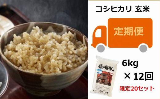 [M003]【定期便】越の銀めし 柏崎産コシヒカリ 玄米 (6kg×12回)