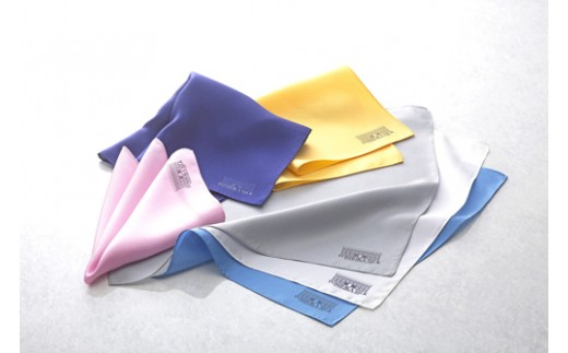 【高級国産シルク100%】 ポケットチーフ プレーン:リヨンブルー