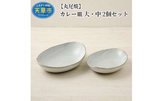 S055-004_【丸尾焼】 カレー皿 大・中 2個セット