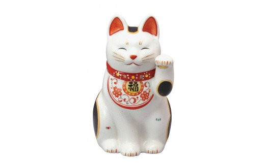 陶彩万福唐草招き猫(左手上げ・大)