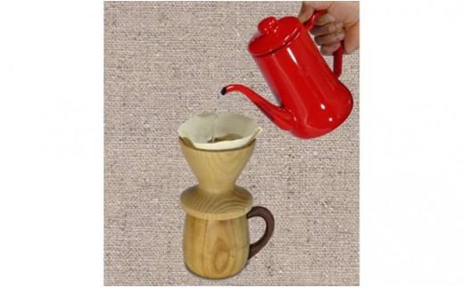 [№5712-0216]木製コーヒーカップ・ドリッパーセット(桑の木か杉の木)