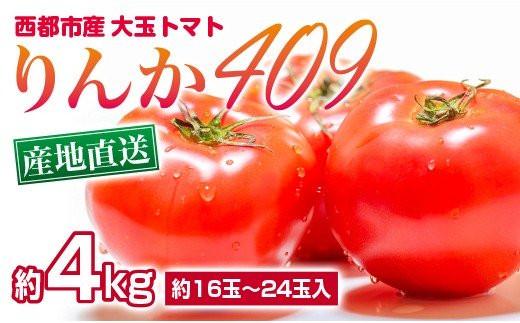 西都市産 米良さんの大玉トマト「りんか409」約4kg(約16玉〜24玉入)【先行予約】<1-126>
