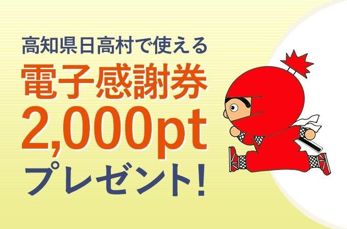 【先着50名】ほっとこうち掲載記念!日高村で使える電子感謝券2,000ptプレゼント!