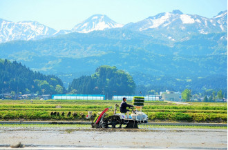 3,000m級の山々を背景に 豊かな圃場