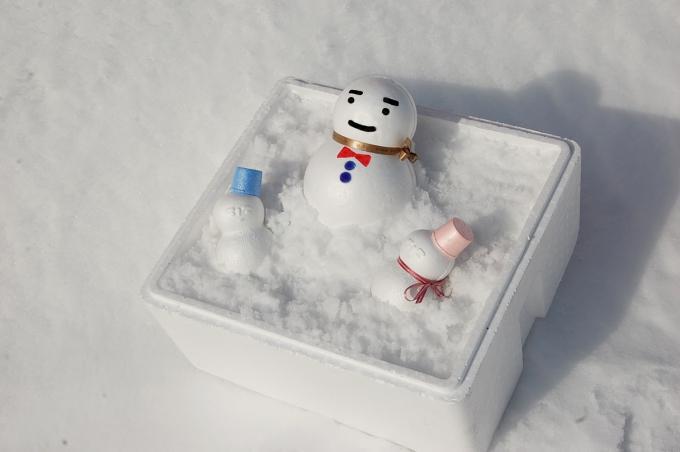 雪の降らない地域でも雪だるま作り♪