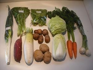 12月の有機野菜セットの例