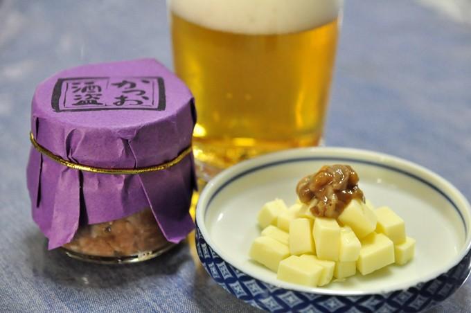 酒盗のチーズ乗せはビールのおつまみにぴったり