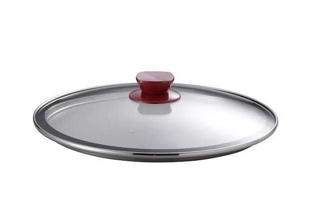 ④ウォックパン用ガラス蓋26cm(ノブ手ワインレッド)