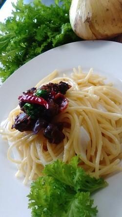 (お料理の一例)赤貝のオイル漬けスパゲティ
