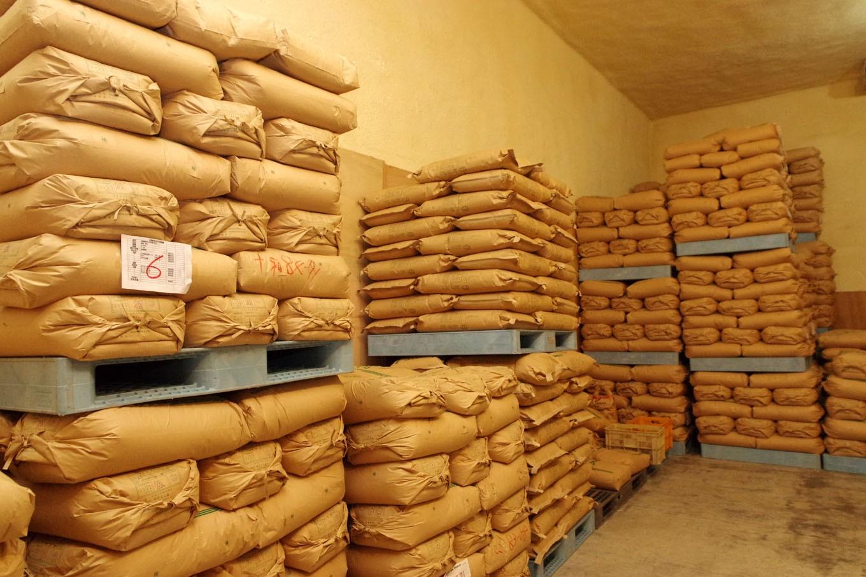 収穫された仁井田米は、専用の低温貯蔵庫で保管されます