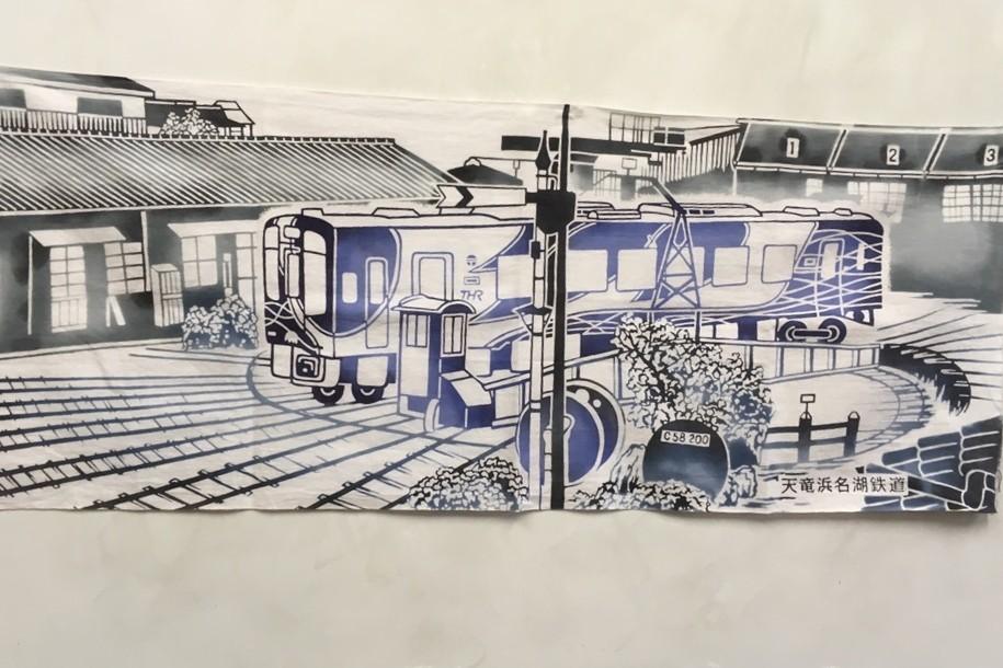 浜松の伝統工芸「浜松注染」で染めた「手ぬぐい」です!転車台の絵です♪