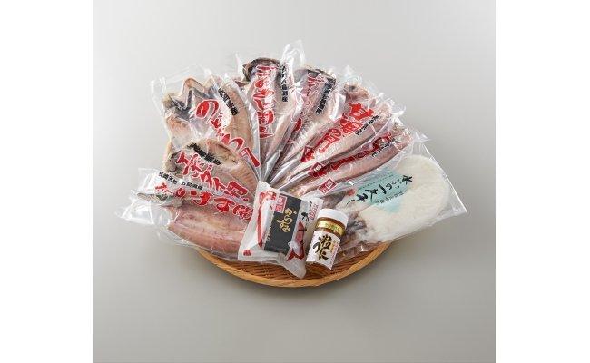 ウニ、水イカ、のどぐろ、からすみなど高級な水産物を詰め合わせたセット