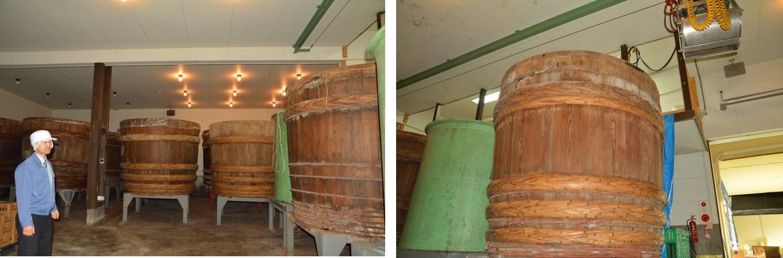 木樽は100年以上も前の物!1つの樽で5トンの味噌を熟成させています