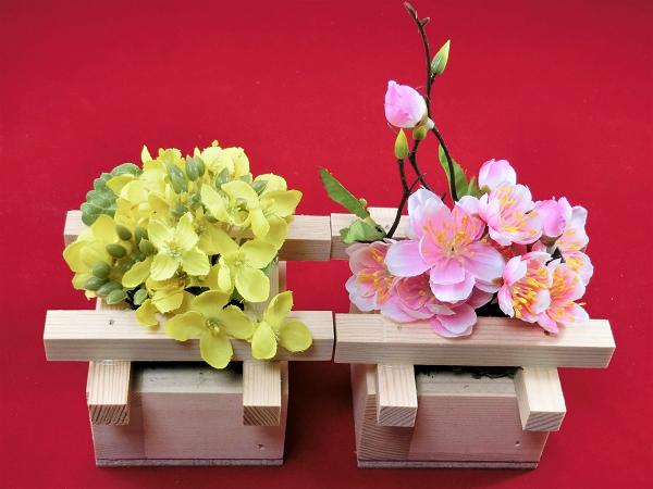 菜の花と桃の花はブレスガーデン自信作のフェイクフラワー(造花)です