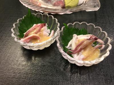ケンサキイカの酢味噌がけ