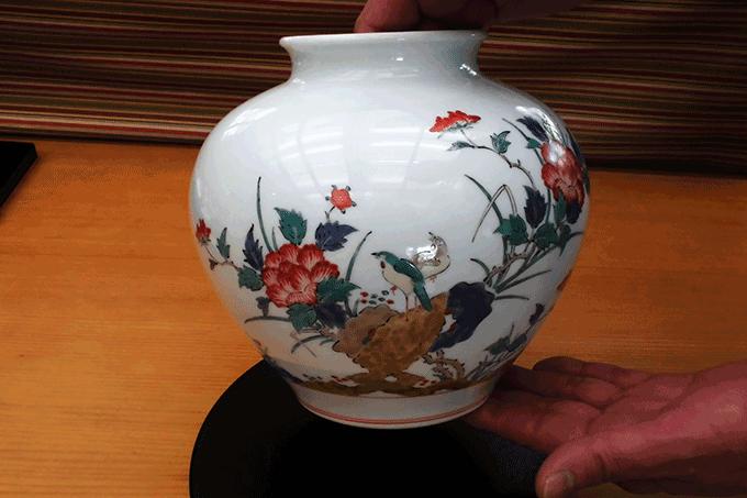 柿右衛門窯 花瓶 牡丹 鳥文