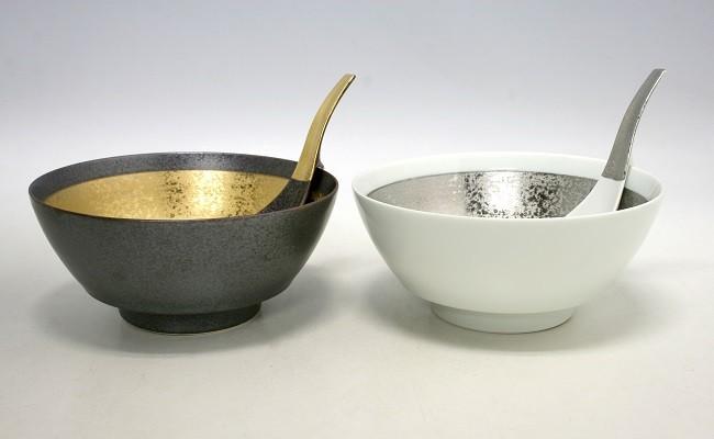 MB006 有田焼・超人気!究極のラーメン鉢 金プラチナ巻(ペア レンゲ付)