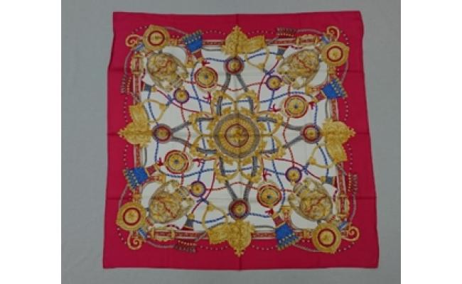 横浜スカーフ「シルク綾スカーフ 88cm角」(赤)