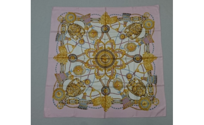 横浜スカーフ「シルク綾スカーフ 88cm角」(ピンク)