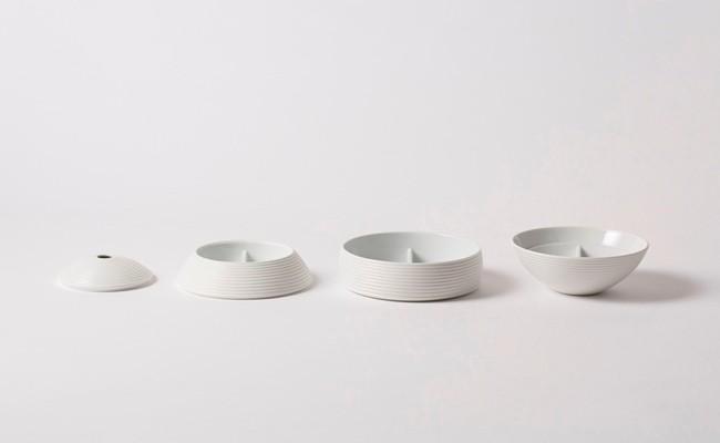 有田焼/李荘窯/白磁千段仕切付珠型三段重