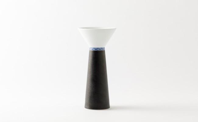 伊万里焼/畑萬陶苑/キュイールデザイン青海波花瓶