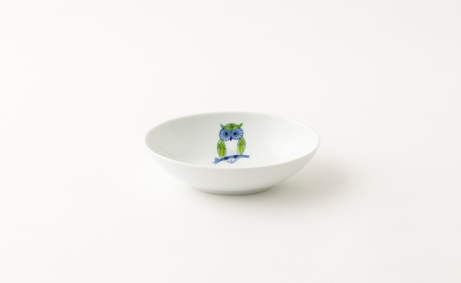 伊万里焼/畑萬陶苑/ふくろう楕円皿(中)