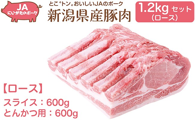 A03 新潟県弥彦村産豚肉 1.2kgセット(ロース)