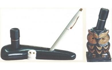 10S23 本水牛角「ふくろうの印鑑立て」と「しろふくろうの印鑑・ペン立て」