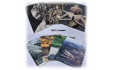 J-01 奈良の四季・仏像の写真7枚セットと手作りお手玉のセット