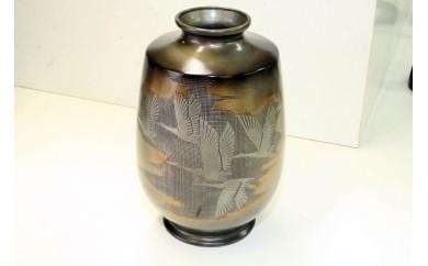 D06 布目昇雲/四分一色花瓶:高岡銅器