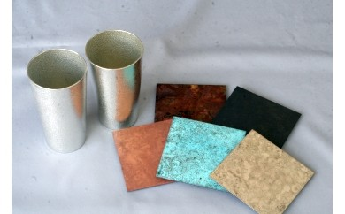 E02 ビアカップ×2/Copper Coastert×5:高岡銅器