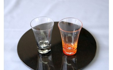 E03 螺鈿ガラス/杯金桜(貝入)黒朱2個セット:高岡漆器