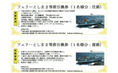 トカラ列島への旅 フェリーとしま2等席乗船引換券【往路・復路】セット