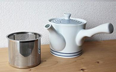 AA02 【波佐見焼】【西海陶器】 白磁渦 急須(ステンレス茶漉し付き)