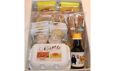 「ゆう地卵」と「阿蘇ジャージー牛乳」を使った焼き菓子と「ゆう地卵」のセット(卵かけご飯専用醤油付)