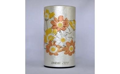 ⑬彫刻缶 秋桜