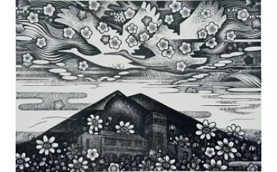 (137)コスモスに翔ぶ(28㎝×40㎝・額付)3万円寄附
