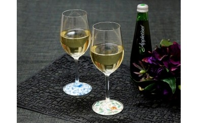 A70-19 【有田焼のグラスで】ミュゼグラス有田焼 菊唐草・色絵花唐草2点セット【おもてなし上手に】