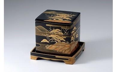 輪島塗 三段重(蓬莱蒔絵、平台付)