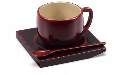 輪島塗 コーヒーカップ(溜、角型)
