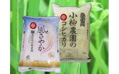 米AA-4 北信州小柳農園の特別栽培米(コシヒカリ・風さやか)食べ比べセット
