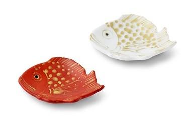 福珠窯の金彩小鯛皿