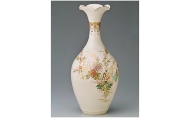 G‐004 十五代沈壽官謹製 薩摩桔梗口花瓶(本金秋草)