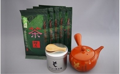 No.21 深蒸し茶500gと急須、茶缶、茶さじセット