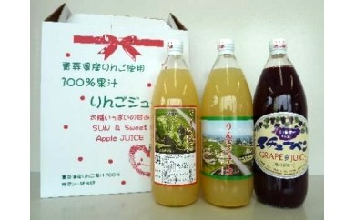 27-A003 青森県産ジュース3本セット(りんご2本・スチューベン1本) 【1pt】