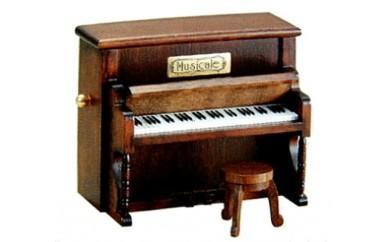 001-019 < 18弁オルゴール > ミニアンティーク(木製ピアノ)