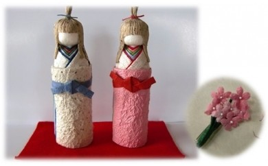 A51 立ち雛(しらたか人形)&桜ブローチ(小)